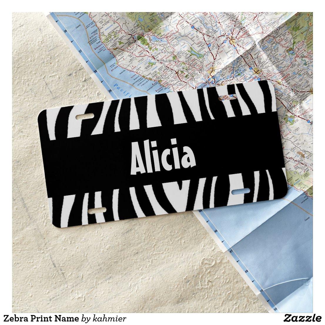Zebra Print Name License Plate