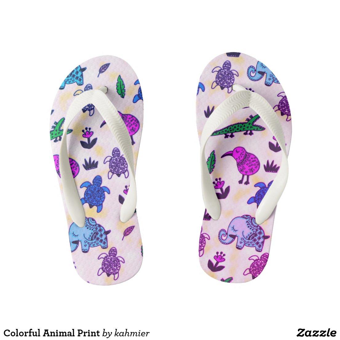 Colorful Animal Print Kid's Flip Flops
