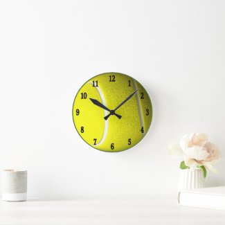 Tennis Ball with Black Numbers Sport Wall Clock