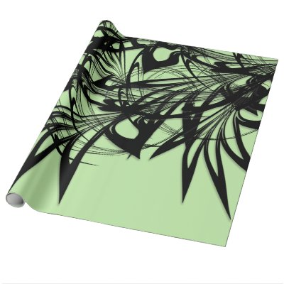 Black and Green Fern Glen Wrapping Paper