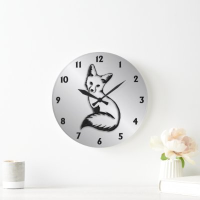 Silver Fox Black Numbers Square Wall Clock
