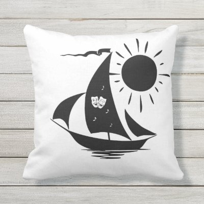 Unique Whimsical Theater Sailing Design Outdoor Pillow