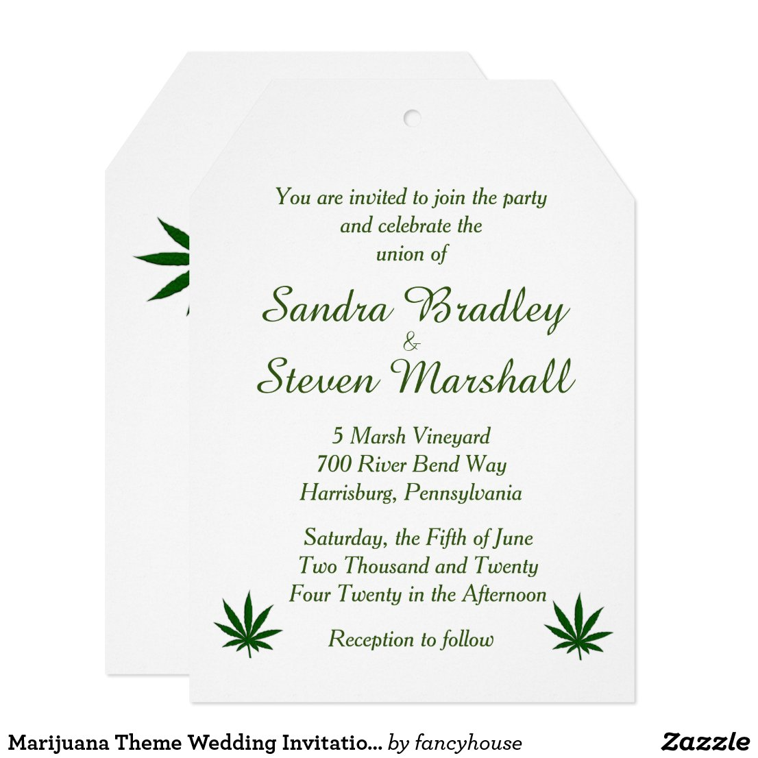 Marijuana Theme Wedding Invitation 5
