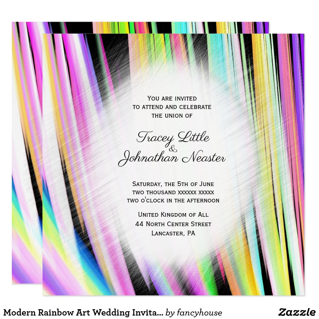 Modern Rainbow Art Wedding Invitations