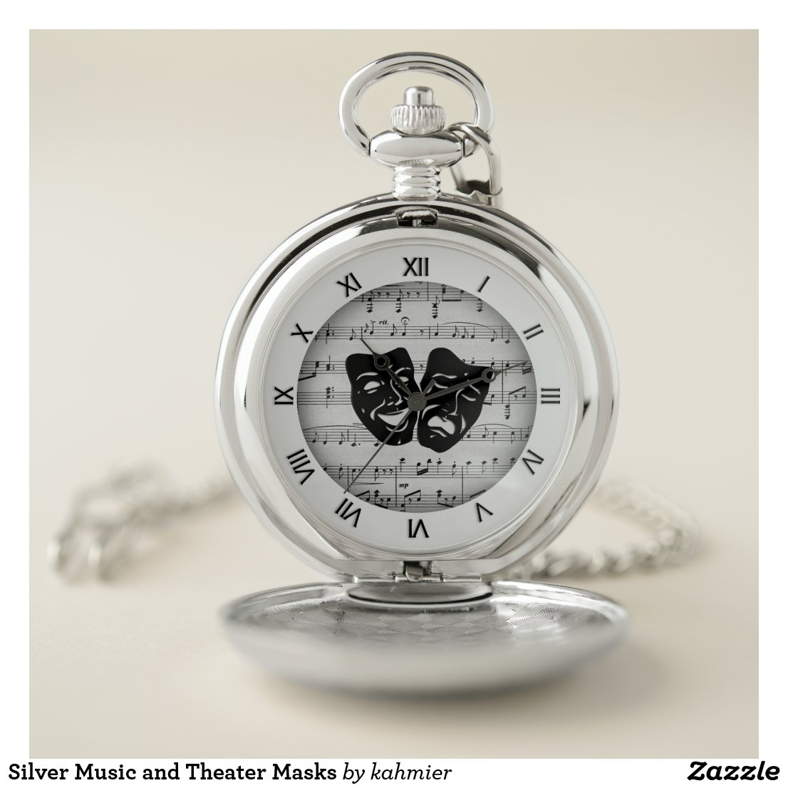 Silver Music and Theater Masks Pocket Watch