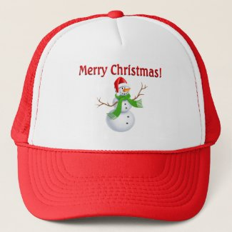 Merry Christmas Snowman Trucker Hat