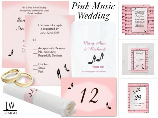 Pink Music Wedding Theme Invitation Suite