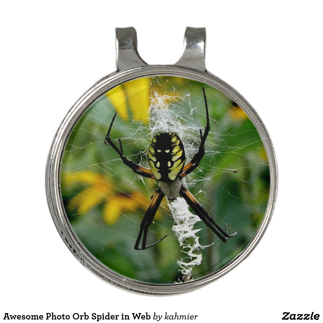 Awesome Photo Orb Spider in Web Golf Hat Clip
