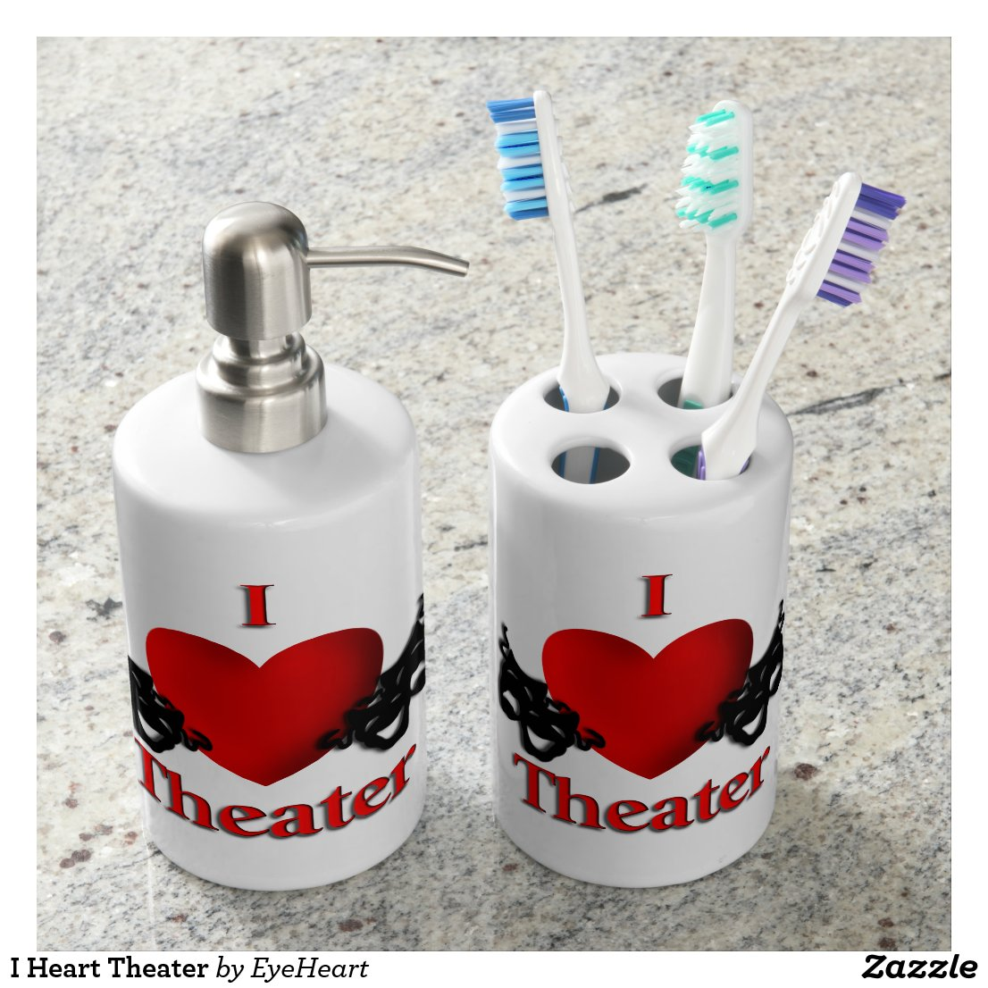I Heart Theater Soap Dispenser & Toothbrush Holder