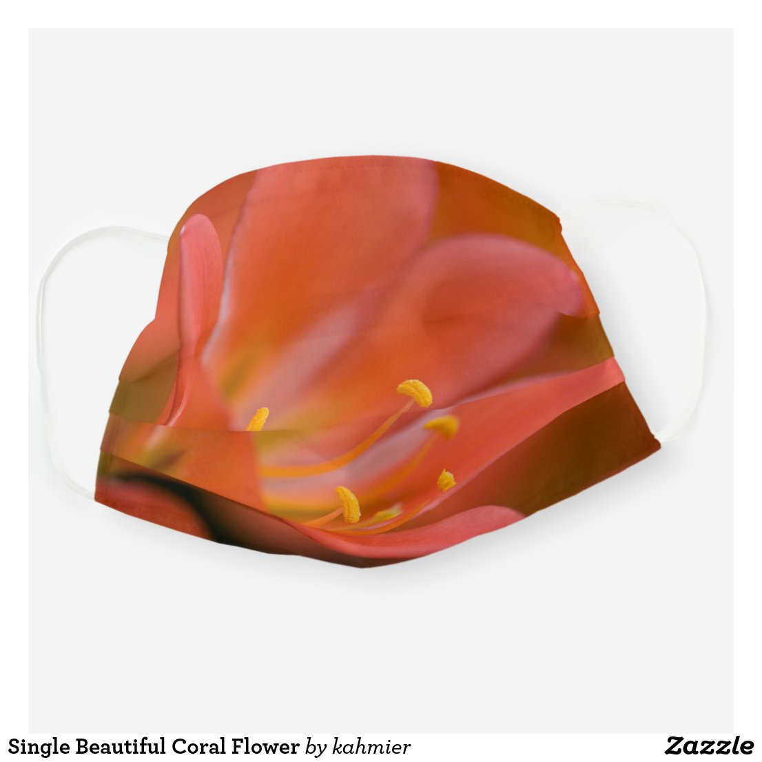 Single Beautiful Coral Flower Cloth Face Mask