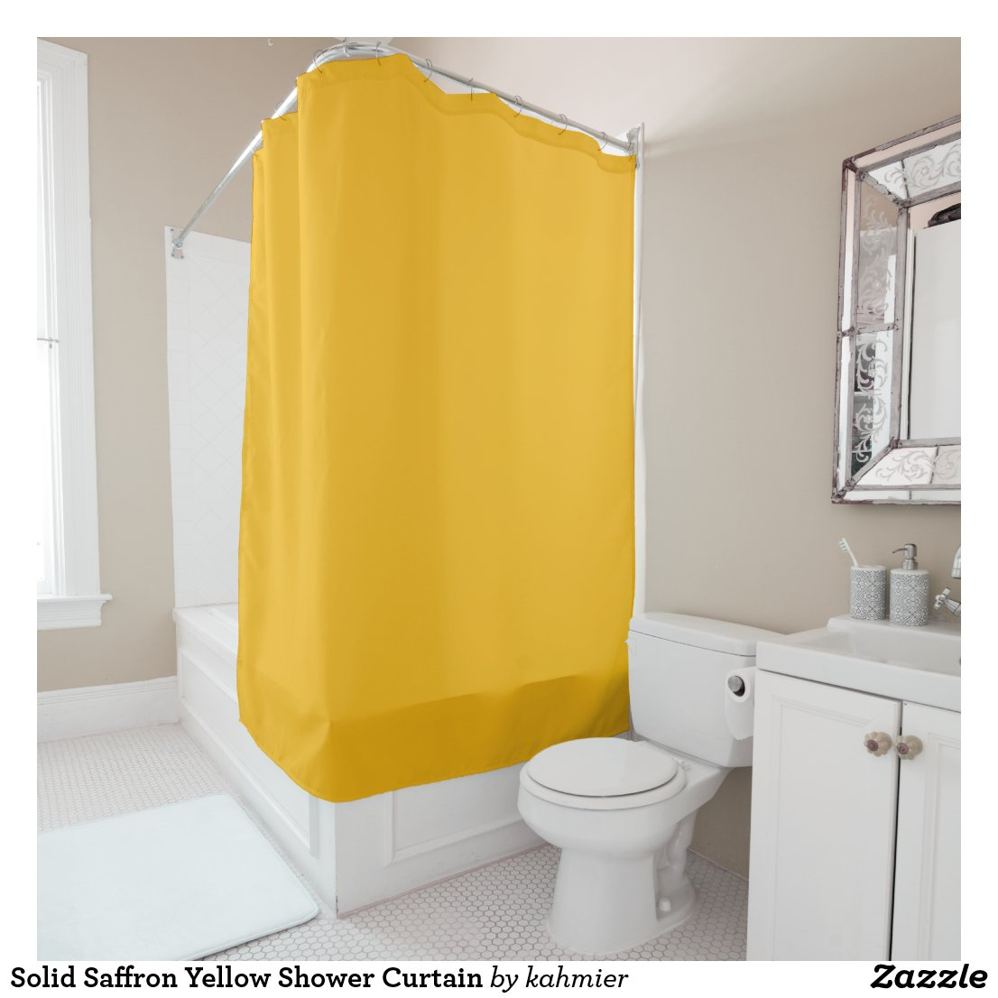Solid Saffron Yellow Shower Curtain