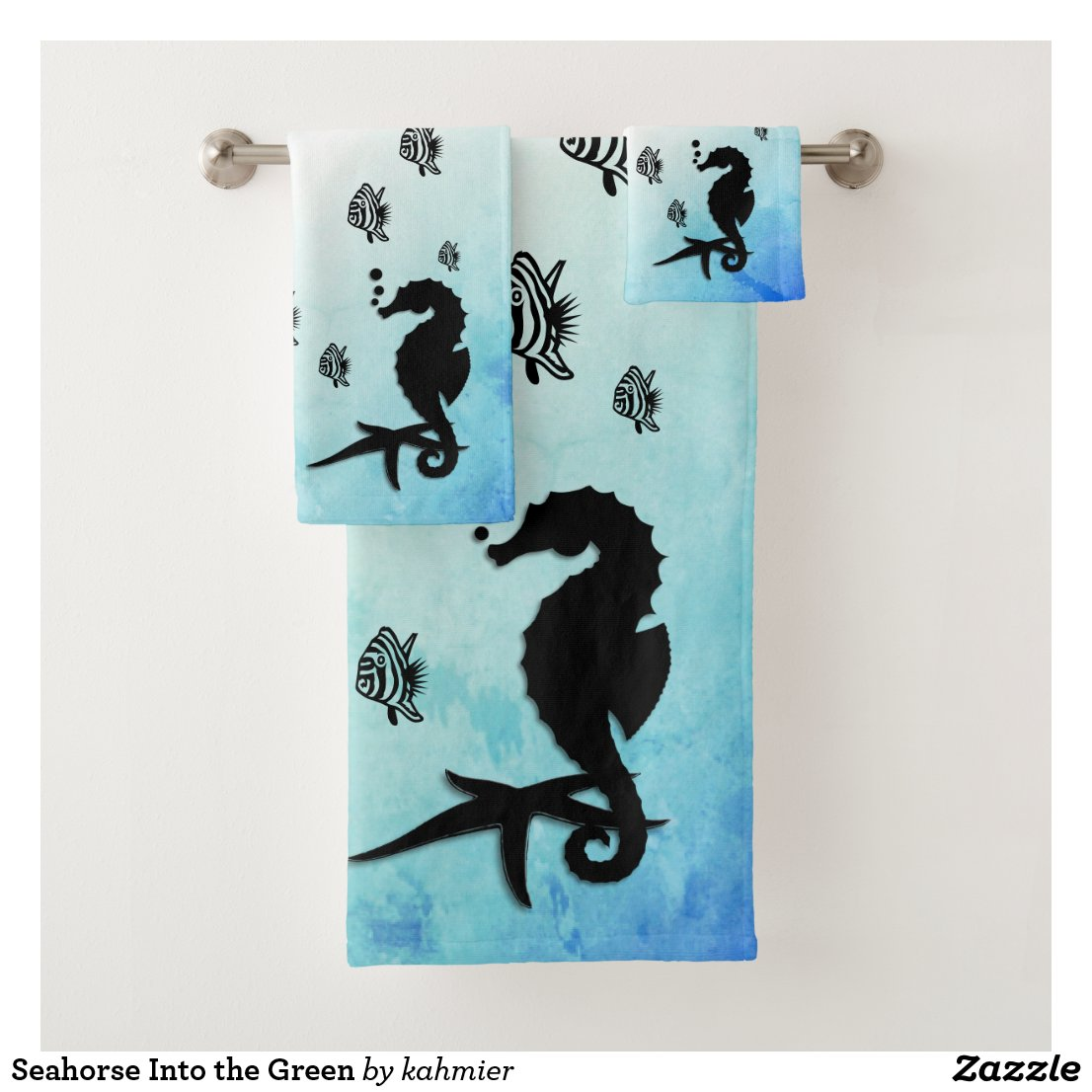 Seahorse Into the Green Bath Towel Set