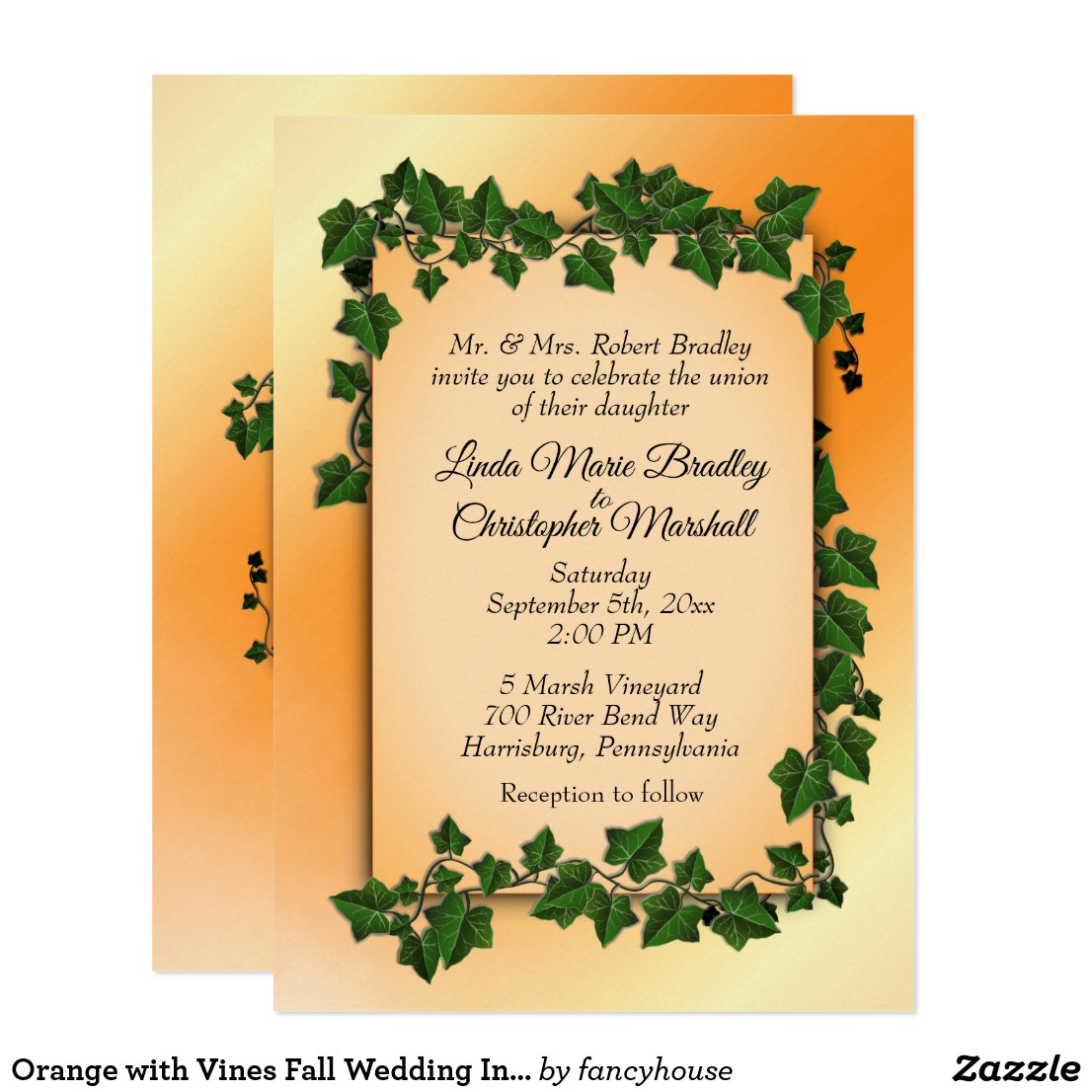 Orange with Vines Fall Wedding Invitation