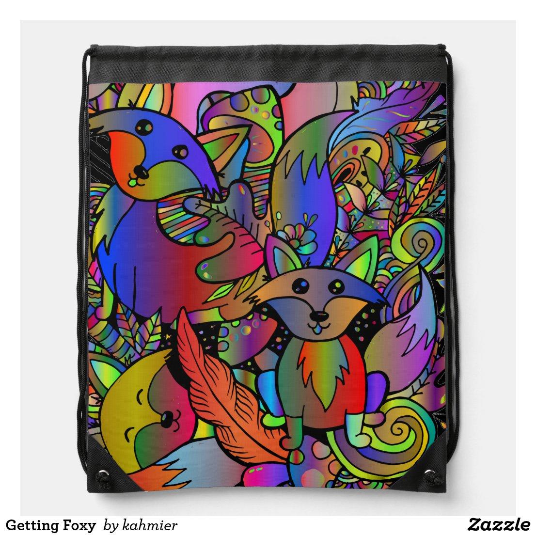 Getting Foxy Drawstring Bag